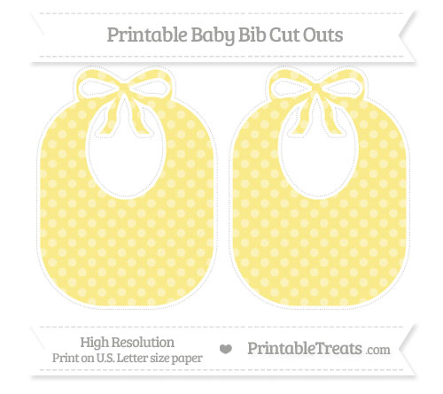 Free Pastel Yellow Dotted Pattern Large Baby Bib Cut Outs