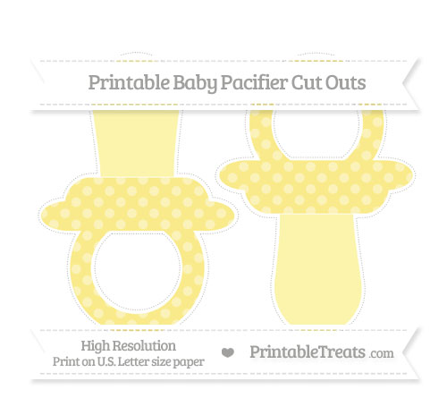 Free Pastel Yellow Dotted Pattern Large Baby Pacifier Cut Outs