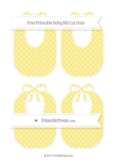 Free Pastel Yellow Dotted Pattern Medium Baby Bib Cut Outs