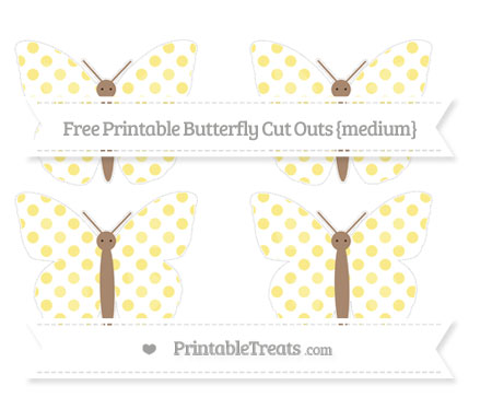 Free Pastel Yellow Dotted Pattern Medium Butterfly Cut Outs