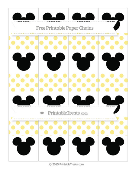 Free Pastel Yellow Dotted Pattern Mickey Mouse Paper Chains