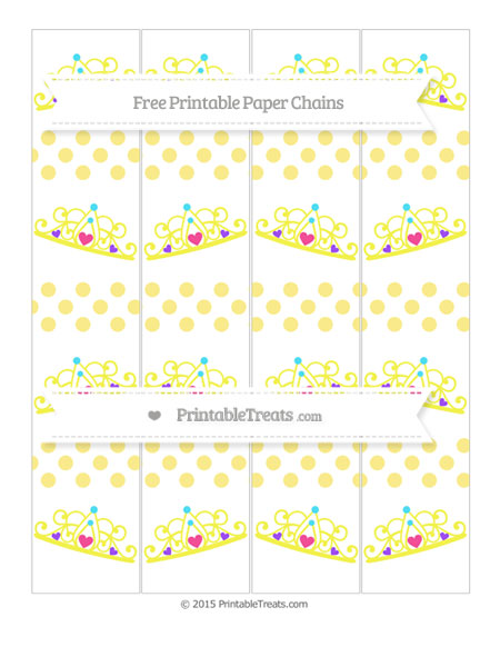 Free Pastel Yellow Dotted Pattern Princess Tiara Paper Chains