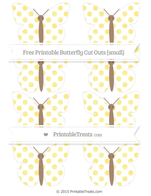 Free Pastel Yellow Dotted Pattern Small Butterfly Cut Outs
