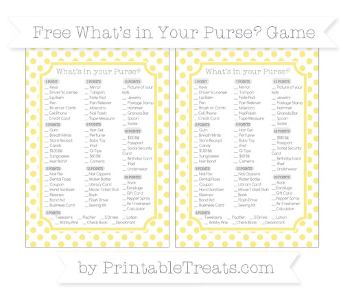 Free Pastel Yellow Dotted Pattern What's in Your Purse Baby Shower Game
