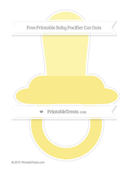 Free Pastel Yellow Extra Large Baby Pacifier Cut Outs