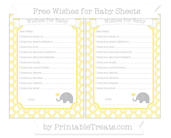 Free Pastel Yellow Fish Scale Pattern Baby Elephant Wishes for Baby Sheets