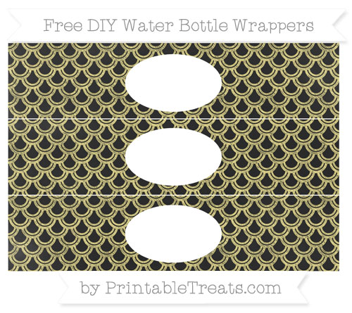 Free Pastel Yellow Fish Scale Pattern Chalk Style DIY Water Bottle Wrappers