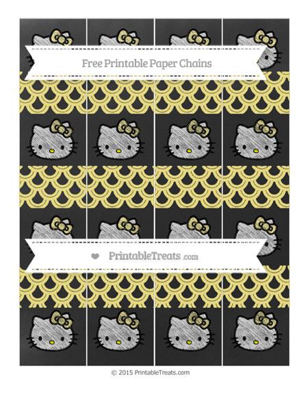 Free Pastel Yellow Fish Scale Pattern Chalk Style Hello Kitty Paper Chains