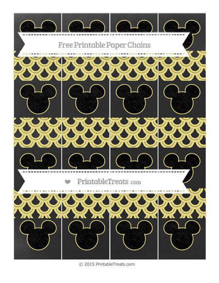 Free Pastel Yellow Fish Scale Pattern Chalk Style Mickey Mouse Paper Chains
