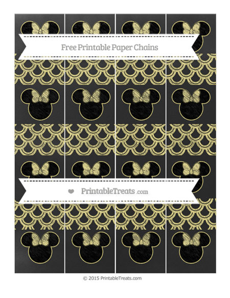 Free Pastel Yellow Fish Scale Pattern Chalk Style Minnie Mouse Paper Chains