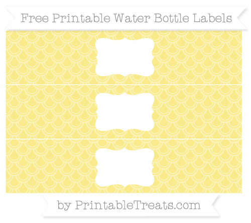 Free Pastel Yellow Fish Scale Pattern Water Bottle Labels