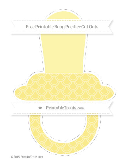 Free Pastel Yellow Fish Scale Pattern Extra Large Baby Pacifier Cut Outs