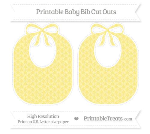 Free Pastel Yellow Fish Scale Pattern Large Baby Bib Cut Outs