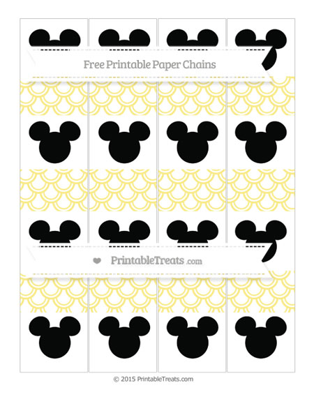 Free Pastel Yellow Fish Scale Pattern Mickey Mouse Paper Chains