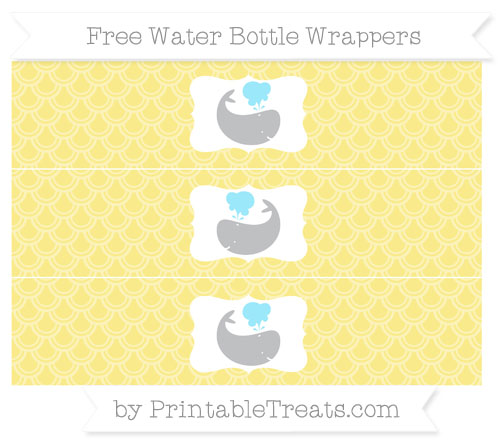 Free Pastel Yellow Fish Scale Pattern Whale Water Bottle Wrappers