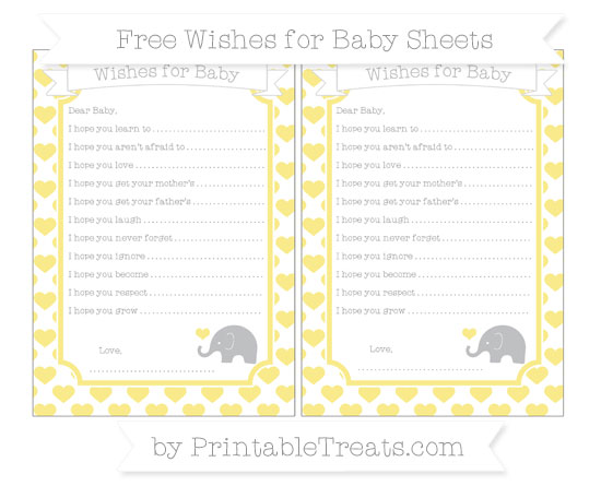 Free Pastel Yellow Heart Pattern Baby Elephant Wishes for Baby Sheets