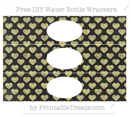 Free Pastel Yellow Heart Pattern Chalk Style DIY Water Bottle Wrappers