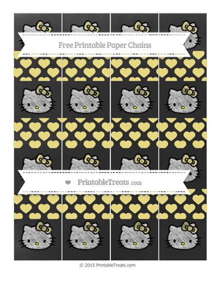 Free Pastel Yellow Heart Pattern Chalk Style Hello Kitty Paper Chains