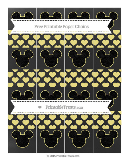 Free Pastel Yellow Heart Pattern Chalk Style Mickey Mouse Paper Chains