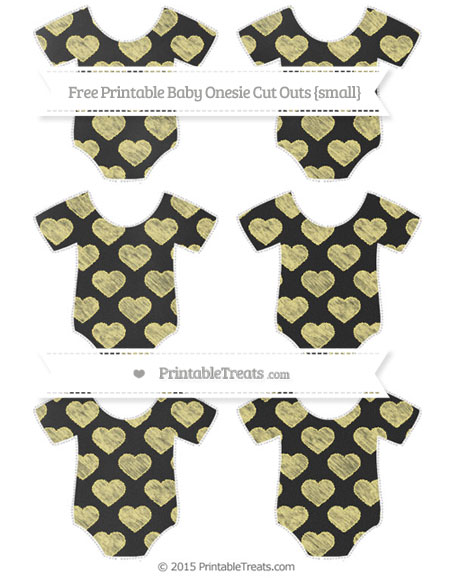 Free Pastel Yellow Heart Pattern Chalk Style Small Baby Onesie Cut Outs