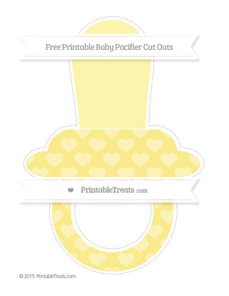 Free Pastel Yellow Heart Pattern Extra Large Baby Pacifier Cut Outs