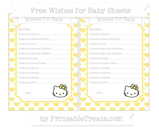 Free Pastel Yellow Heart Pattern Hello Kitty Wishes for Baby Sheets