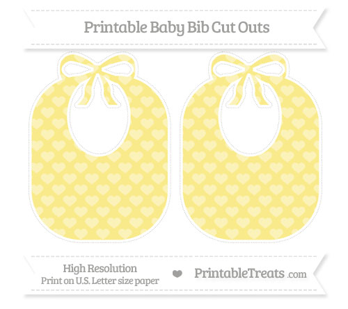 Free Pastel Yellow Heart Pattern Large Baby Bib Cut Outs