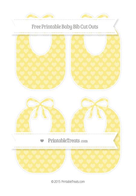 Free Pastel Yellow Heart Pattern Medium Baby Bib Cut Outs