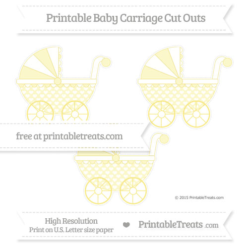 Free Pastel Yellow Heart Pattern Medium Baby Carriage Cut Outs