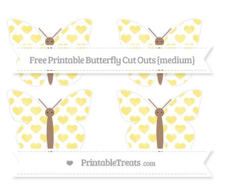 Free Pastel Yellow Heart Pattern Medium Butterfly Cut Outs
