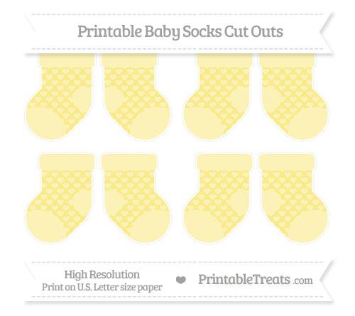 Free Pastel Yellow Heart Pattern Small Baby Socks Cut Outs