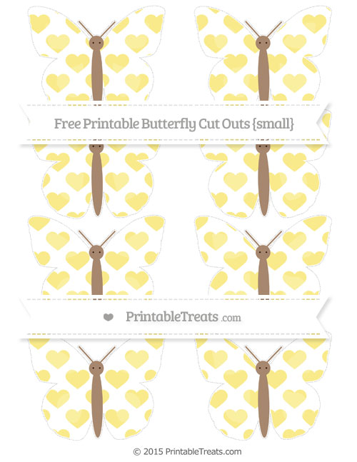 Free Pastel Yellow Heart Pattern Small Butterfly Cut Outs