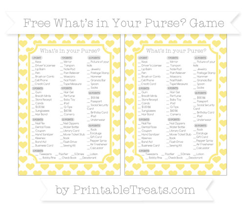 Free Pastel Yellow Heart Pattern What's in Your Purse Baby Shower Game