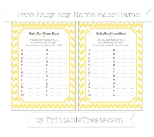 Free Pastel Yellow Herringbone Pattern Baby Boy Name Race Game