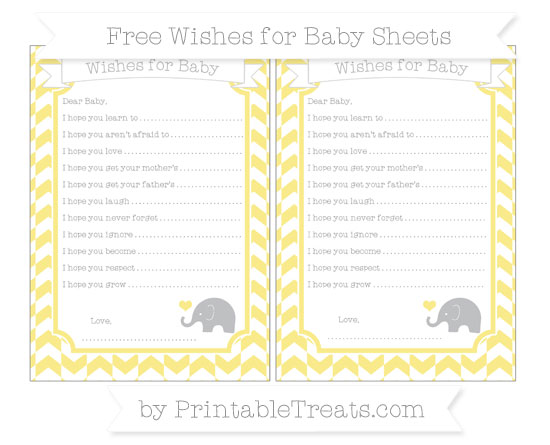 Free Pastel Yellow Herringbone Pattern Baby Elephant Wishes for Baby Sheets