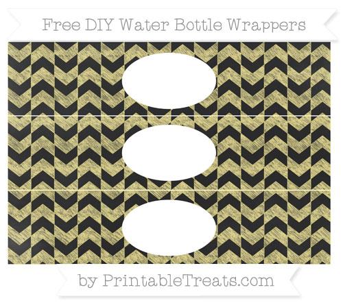 Free Pastel Yellow Herringbone Pattern Chalk Style DIY Water Bottle Wrappers