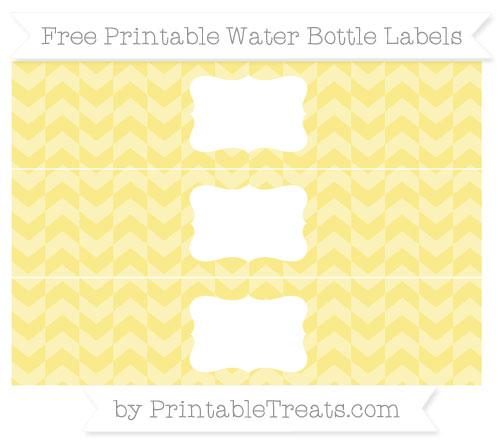 Free Pastel Yellow Herringbone Pattern Water Bottle Labels