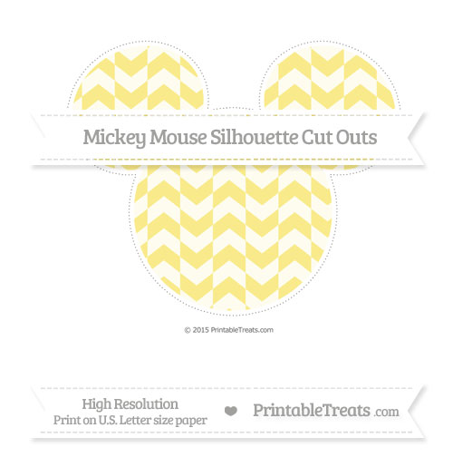 Free Pastel Yellow Herringbone Pattern Extra Large Mickey Mouse Silhouette Cut Outs