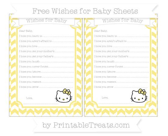 Free Pastel Yellow Herringbone Pattern Hello Kitty Wishes for Baby Sheets