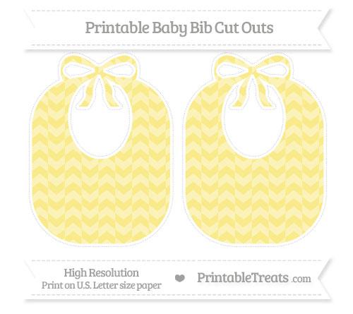 Free Pastel Yellow Herringbone Pattern Large Baby Bib Cut Outs