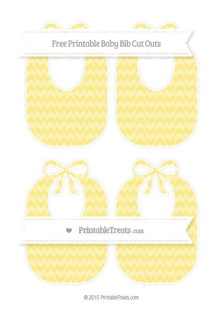 Free Pastel Yellow Herringbone Pattern Medium Baby Bib Cut Outs