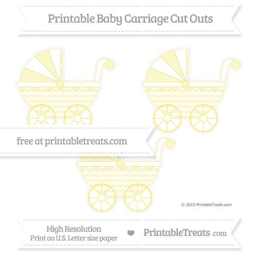 Free Pastel Yellow Herringbone Pattern Medium Baby Carriage Cut Outs