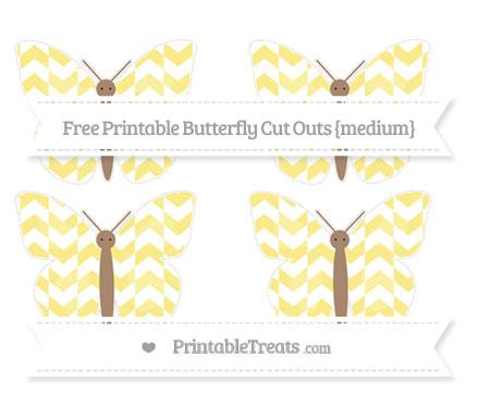 Free Pastel Yellow Herringbone Pattern Medium Butterfly Cut Outs