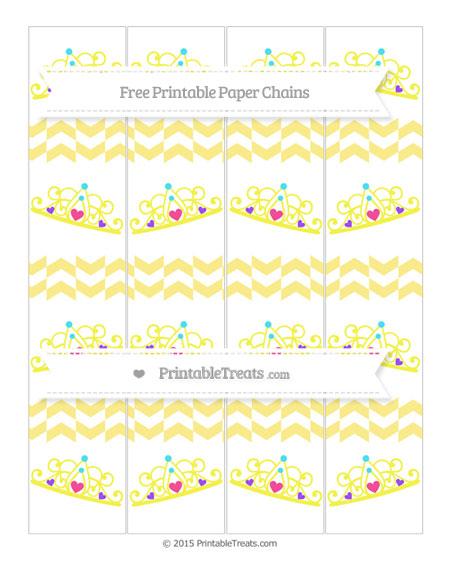Free Pastel Yellow Herringbone Pattern Princess Tiara Paper Chains