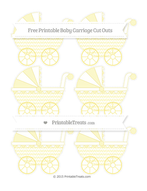 Free Pastel Yellow Herringbone Pattern Small Baby Carriage Cut Outs