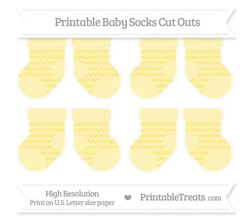 Free Pastel Yellow Herringbone Pattern Small Baby Socks Cut Outs