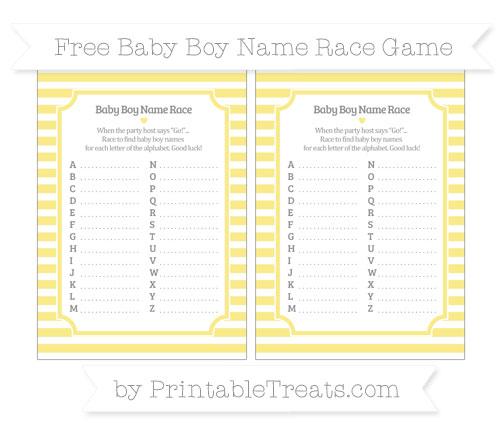 Free Pastel Yellow Horizontal Striped Baby Boy Name Race Game
