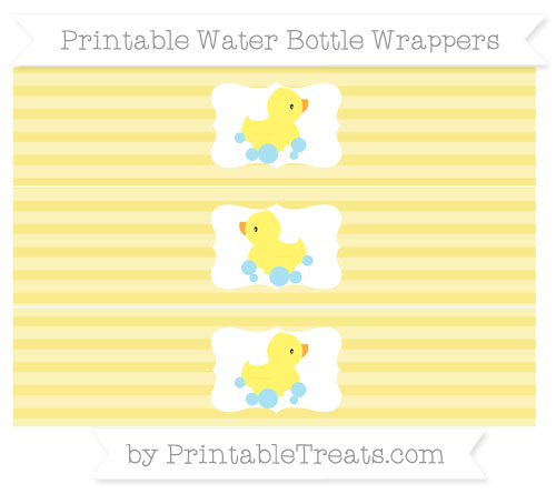 Free Pastel Yellow Horizontal Striped Baby Duck Water Bottle Wrappers