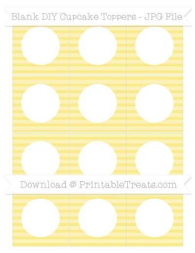 Free Pastel Yellow Horizontal Striped Blank DIY Cupcake Toppers