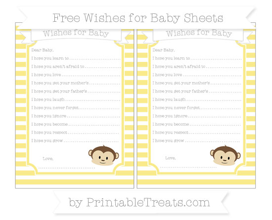 Free Pastel Yellow Horizontal Striped Boy Monkey Wishes for Baby Sheets